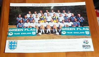 Euro 96 England Football Squad Official Photo Card With Printed Autographs 1995