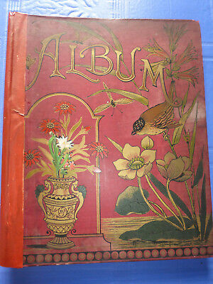Victorian Scrap album, with 26 pages of scraps, loose New Year card dated1887