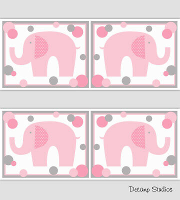 Pink Elephant Nursery Girl Wallpaper Border Wall Art Decals Polka Dot Stickers