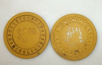 "2 Vintage Poker Casino Chips $5.00 ""PLAY HOUSE"" 14558 Lake City Way Seattle Wash"