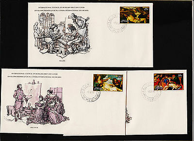 X3 1980 Niue International Council of Museums FDC Set Sc#262-4 Signed