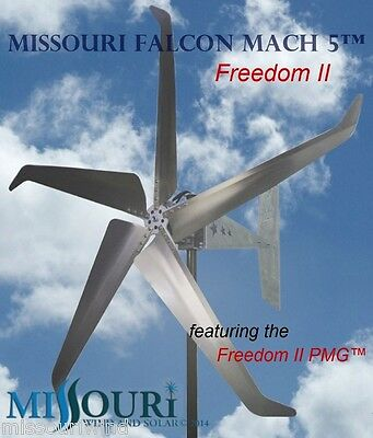 12 Volt 2000 Watt Missouri Falcon Mach 5 80.5 Inch Freedom ll Wind Turbine