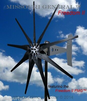 Missouri General Freedom II 48 volt 2000 watt max 9 blade wind turbine HD