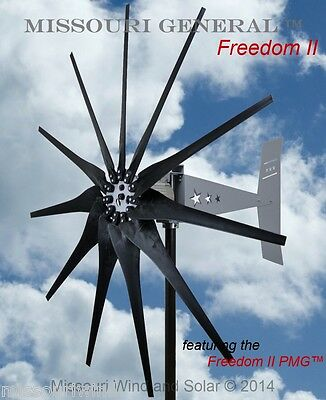 Missouri General Freedom II 48 volt 2000 watt max 11 blade wind turbine HD