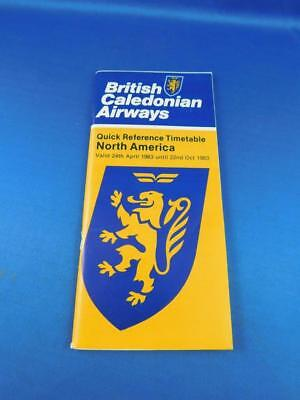 North America Quick Reference Timetable British Caledonian Airway Airline 1983