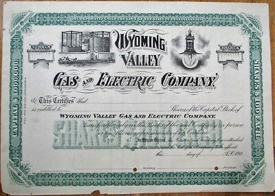 Wyoming Valley Gas & Electric Co. 1905 Stock Certificate - PA Pennsylvania Penn