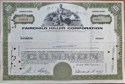 Fairchild Hiller Corporation 1966 Aviation/Airplane Stock Certificate