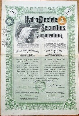 Hydro-Electric Securities Corporation 1932 Stock Certificate- Canada w/Waterfall