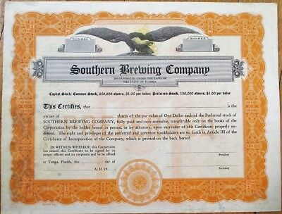 Beer: 'Southern Brewing Company' 1930 Stock Certificate - Tampa, Florida FL