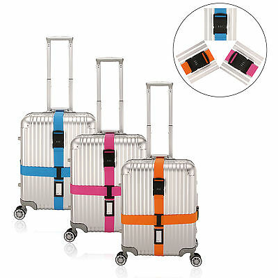Adjustable Luggage Suitcase Cross Strap Belt With Digital Code Lock + Tag