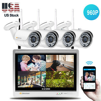 Outdoor Wifi  IP Camera 960P 4CH 12'' LCD Wireless NVR Security CCTV System Cam