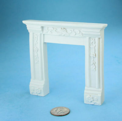 1:12 Scale Dollhouse Miniature Fancy White Carved Fireplace Mantle #SDF620W