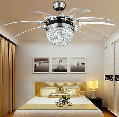 """42"""" Crystal Ceiling Fan Light Take Off Invisible 8Blade Remote Control Lamp"""
