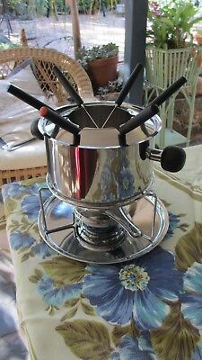Stainless Steel Fondue Pot with Lid,Stand, Metho Burner ,Tray ,6 forks set
