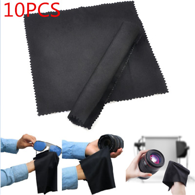 10Pack Black Premium Microfiber Cleaning Cloths for Lens Glasses Screen Newly