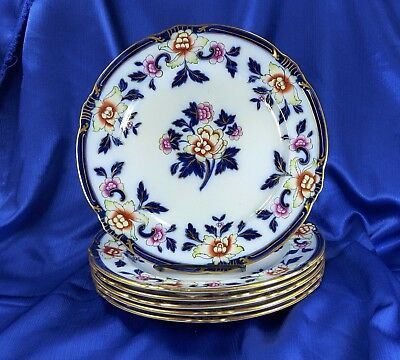 "6 Antique Flow Blue Polychrome 10"" Colorful Floral Dinner Plates Cauldon ~Exc!"