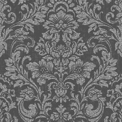 Crown Luxe Highgrove Damask Wallpaper Charcoal - M1203 Glitter Sparkle