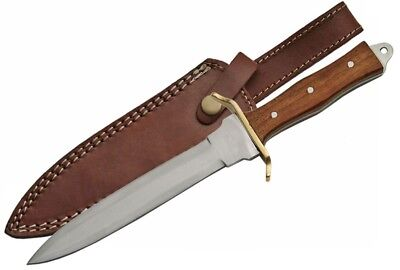"Commando Dagger | 11.5"" Double Edge Blade Knife Wood Handle Full Tang + Sheath"