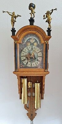 Wall Clock Warmink Dutch Schipertje Oak Wood Bell Strike Moon Dial Vintage Era