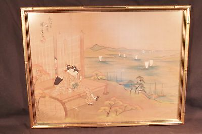 Antique JAPANESE PAINTING ON SILK, 2 GEISHAS GAZE AT LAKE W BOATS UKIYO-E