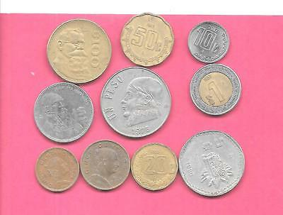 Mexico Mexican 10 Diff Different 1961-2007 Used Coin Lot Collection Set W Old