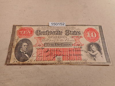 September 2, 1861 Confederate States 10 Dollars Note Currency Nice - # 150152