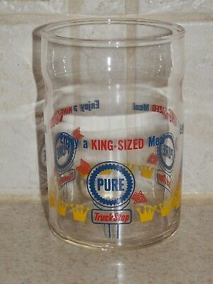 "Pure Gasoline 3 Color Advertising Tumbler 4"" Truckstop Federal Glass"