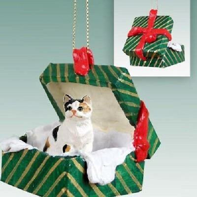 CALICO CAT Christmas GREEN GIFT BOX Ornament HAND PAINTED resin FIGURINE Kitty