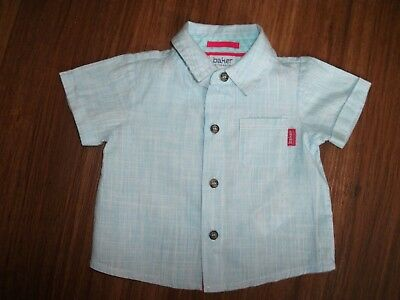 BNWOT Gorgeous TED BAKER baby boy pale blue stripe short sleeved shirt Cotton0-3