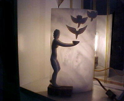 Art Deco 1930's Italy Modernistic Nude Lady w Birds Alabaster Lamp