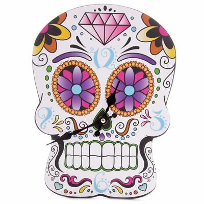 Anatomical Mexican Sugar Skull Day of the Dead Gothic Fantasy Wooden Wall Clock