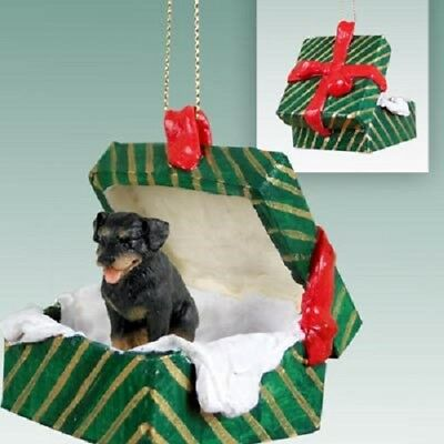 ROTTWEILER Christmas GREEN GIFT BOX Dog Ornament HAND PAINTED resin FIGURINE NEW