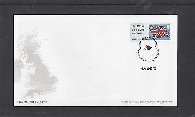 GB 2015  Post & Go Frama Union Flag FAAM overprint 1st class stamp A03 FDC Alrew