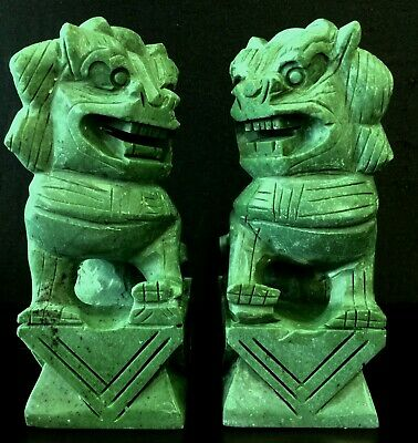 "Pair of 8"" Green Jade Foo Dogs (HJ018G)"