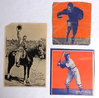 P665 Vintage Lot of 3: JACK ARMSTRONG Wheaties Box Photo Panel & BW Photo (1935)
