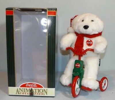1998 Musical Animated Coca Cola Coke Polar Bear On Bike Tricycle Stuffed/Plush