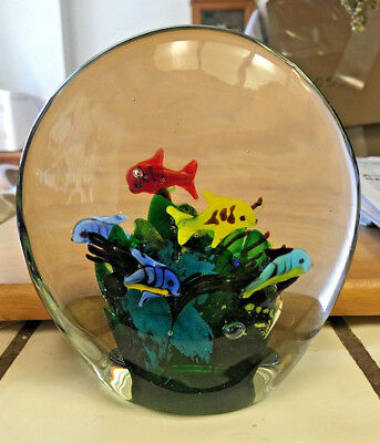 Hand Blown Glass Paperweight Underwater Tropical Fish Unsigned