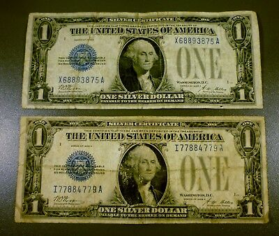 Lot Of 2 Series 1928-A $1 Silver Certificates