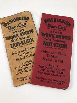"Pair Of Antique/vintage 1942 Washington ""Dee-Cee"" Brand Work Shirts Notebooks"