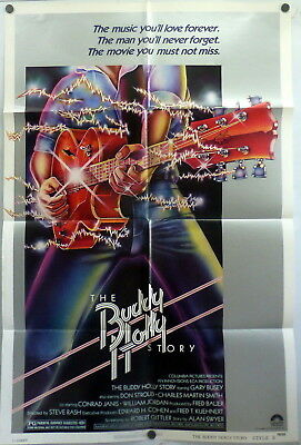The Buddy Holly Story Original 1970s 1 Sheet Movie Poster Gary Busey 1950s Rock