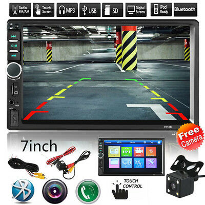 """7"""" 2DIN Car MP5 Player Bluetooth Touch Screen Stereo Radio HD Rear View Camera"""