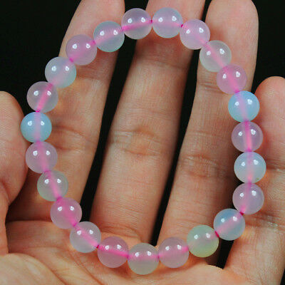 88.35Ct 100%Natural Blue Pink Green Chalcedony Round Beads Bracelet Chain BSC296