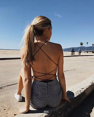 Women Sexy Camisole Jumpsuit Top Backless Cross Strap Slim Bodysuit B