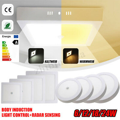 6/12/18/24W Surface Mounted LED Panel Light Motion Sensor Ceiling Downlight