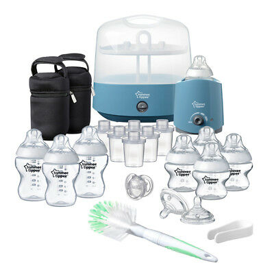 Tommee Tippee Closer to Nature Complete Feeding Set Cool Blue│Quick Steriliser