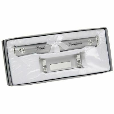 Baby Silverplated Birth Certificate Holder With Stand New Baby Gift