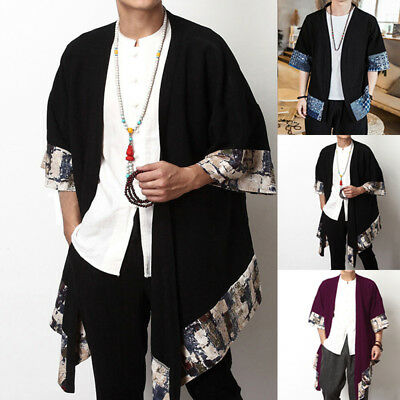 AU STOCK Mens Chinese Style Casual Vintage Baggy Cardigan Outerwear Cape S-5XL