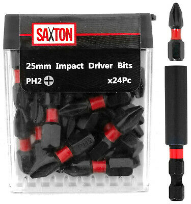 Saxton 24x PH2-25mm Impact Duty Screwdriver Drill Bits Set + Bit Holder