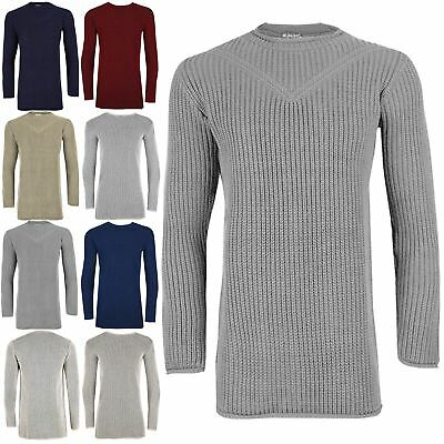 eac95141d83b Mens Chunky Cable Knit Thick Longline Ribbed Sweater Pullover Crew Neck  Jumper