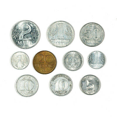 1 set of 10 different types East Germany coins 1960's-80's xf-Au
